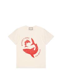 Camiseta con cuello circular estampada en beige de Gucci