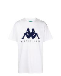 Camiseta con cuello circular estampada en blanco y azul marino de Paura