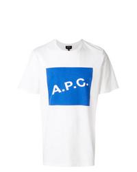 Camiseta con cuello circular estampada en blanco y azul de A.P.C.