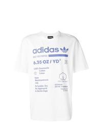 Camiseta con cuello circular estampada en blanco y azul de adidas