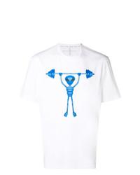 Camiseta con cuello circular estampada en blanco y azul de Blackbarrett