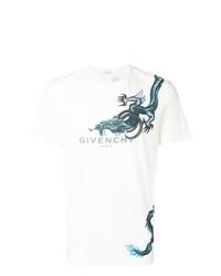 Camiseta con cuello circular estampada en blanco y azul de Givenchy
