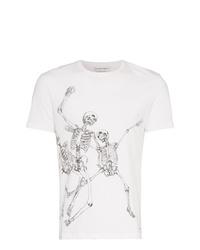 Camiseta con cuello circular estampada en blanco y negro de Alexander McQueen