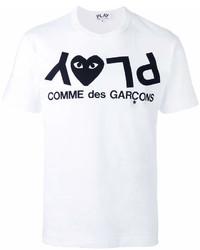 Camiseta con cuello circular estampada en blanco y negro de Comme des Garcons
