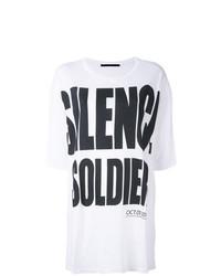 Camiseta con cuello circular estampada en blanco y negro de Haider Ackermann