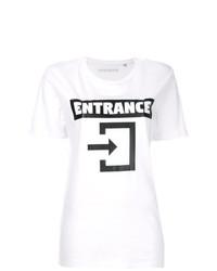 Camiseta con cuello circular estampada en blanco y negro de Manokhi