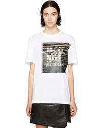 Camiseta con cuello circular estampada en blanco y negro de MCQ