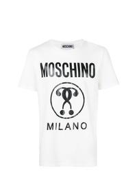 Camiseta con cuello circular estampada en blanco y negro de Moschino