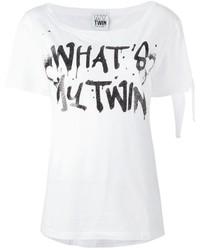 Camiseta con cuello circular estampada en blanco y negro de Twin-Set