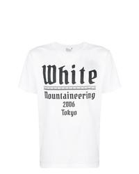 Camiseta con cuello circular estampada en blanco y negro de White Mountaineering