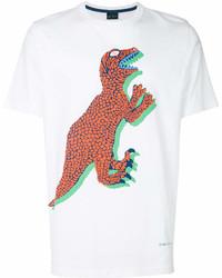 Camiseta con cuello circular estampada en blanco y rojo de Paul Smith