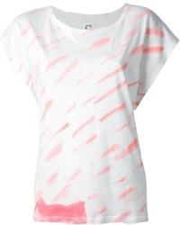Camiseta con cuello circular estampada en blanco y rosa de Tsumori Chisato