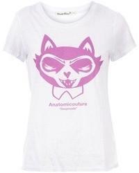 Camiseta con cuello circular estampada en blanco y rosa de Undercover
