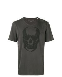 Camiseta con cuello circular estampada en gris oscuro de John Varvatos