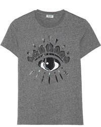 Camiseta con cuello circular estampada en gris oscuro de Kenzo