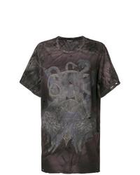 Camiseta con cuello circular estampada en marrón oscuro de Balmain