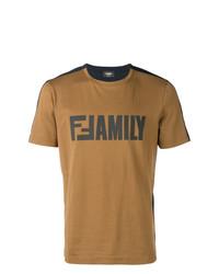 Camiseta con cuello circular estampada en multicolor de Fendi