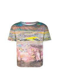 Camiseta con cuello circular estampada en multicolor de Maison Margiela