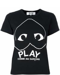 Camiseta con cuello circular estampada en negro y blanco de Comme des Garcons