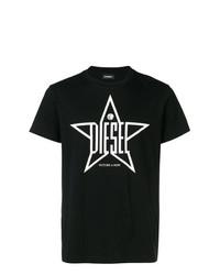 Camiseta con cuello circular estampada en negro y blanco de Diesel