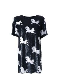 Camiseta con cuello circular estampada en negro y blanco de Macgraw