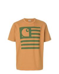 Camiseta con cuello circular estampada en tabaco