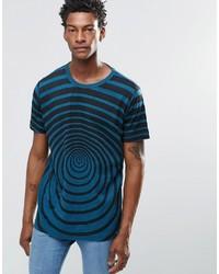Camiseta con cuello circular estampada en verde azulado