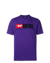Camiseta con cuello circular estampada en violeta de Diesel