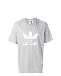 Camiseta con cuello circular estampada gris de adidas