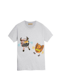 Camiseta con cuello circular estampada gris de Burberry