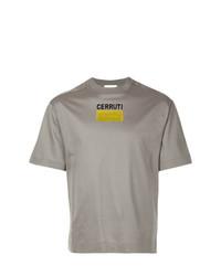 Camiseta con cuello circular estampada gris de Cerruti 1881