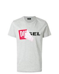 Camiseta con cuello circular estampada gris de Diesel