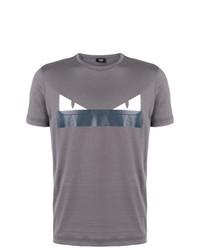 Camiseta con cuello circular estampada gris de Fendi