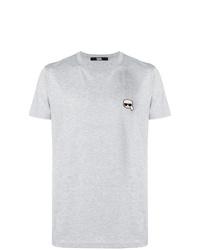 Camiseta con cuello circular estampada gris de Karl Lagerfeld