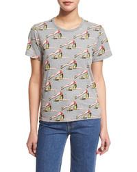 Camiseta con cuello circular estampada gris de Marc Jacobs