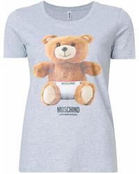 Camiseta con cuello circular estampada gris de Moschino