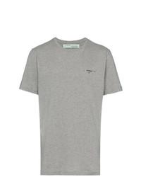 Camiseta con cuello circular estampada gris de Off-White