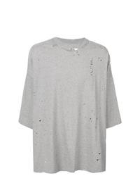 Camiseta con cuello circular estampada gris de Unravel Project