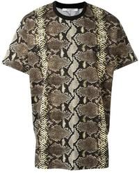 Camiseta con cuello circular estampada marrón de Givenchy