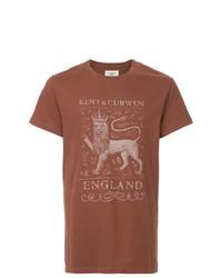 Camiseta con cuello circular estampada marrón de Kent & Curwen