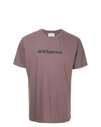 Camiseta con cuello circular estampada morado