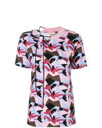 Camiseta con cuello circular estampada morado oscuro de Marni