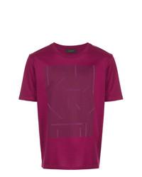 Camiseta con cuello circular estampada morado de D'urban
