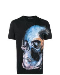 Camiseta con cuello circular estampada negra de Alexander McQueen