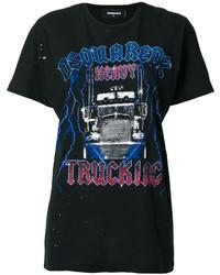 Camiseta con cuello circular estampada negra de Dsquared2