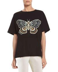 Camiseta con cuello circular estampada negra de Gucci