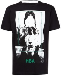 Camiseta con cuello circular estampada negra de Hood by Air