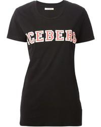 Camiseta con cuello circular estampada negra de Iceberg