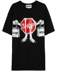 Camiseta con cuello circular estampada negra de Moschino
