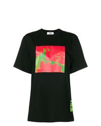 Camiseta con cuello circular estampada negra de MSGM